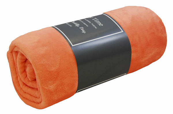 Ultrasoft Flannel Throw - Tangerine