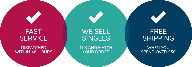Fast service: Dispatched within 48 hours.  We sell singles: Mix and match your order.  Free shipping: when you spend over £50.